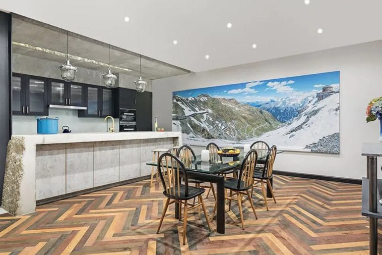 chic London kitchen with huge art print