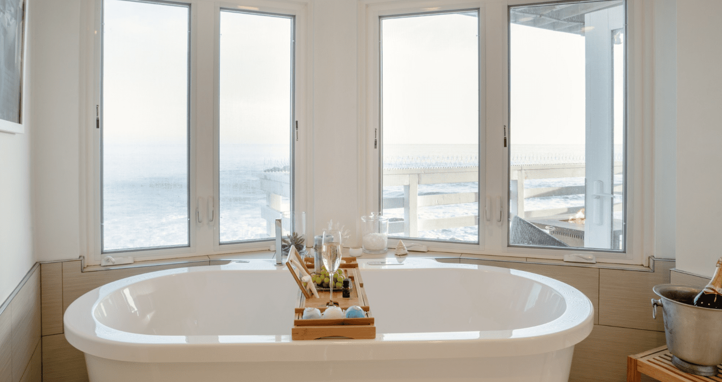 bathtub with a sea view
