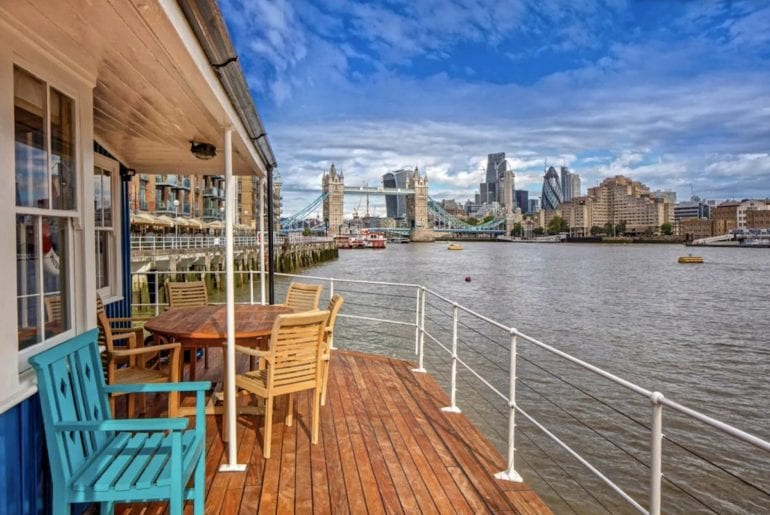 A view of tower bridge from the deck of this london houseboat airbnb