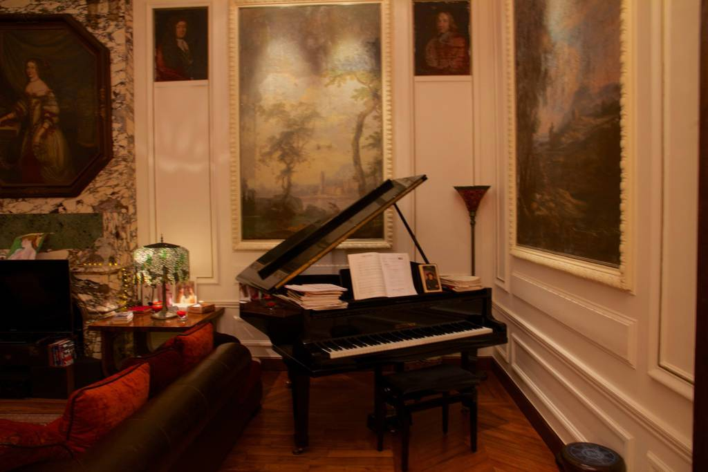 elegant paris airbnb with glass wall and piano