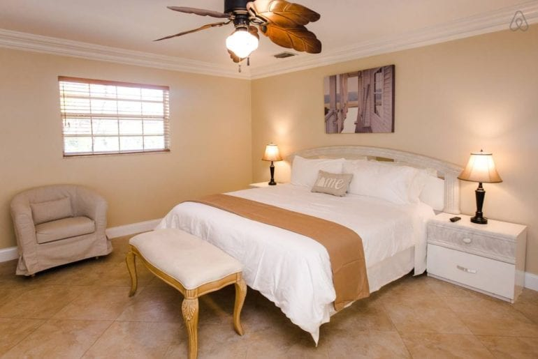 a beige coloured bedroom in a west palm beach airbnb