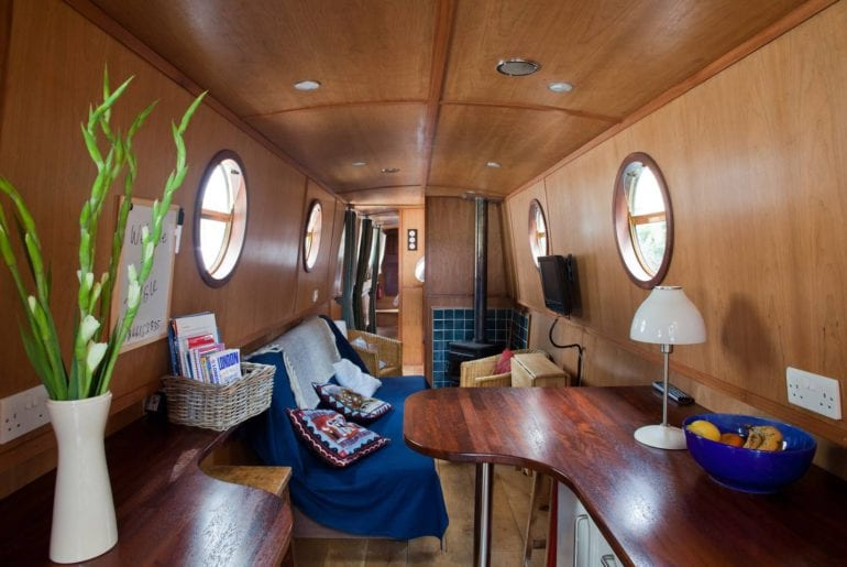 the interior of the narrowboat docked in Little Venice, London