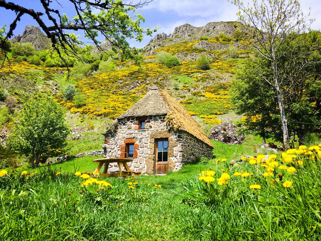 small stone cottage in french alps region