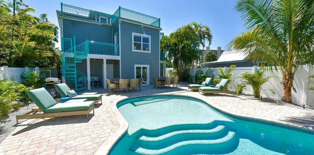 large pool home at the beach