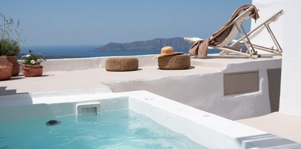 greek villa with hot tub