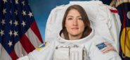Photo Date: 11-7-2018.Location: Bldg 8 Photo Studio.Subject: Astronaut Christina Koch Official EMU Portrait.Photographer: Bill Stafford