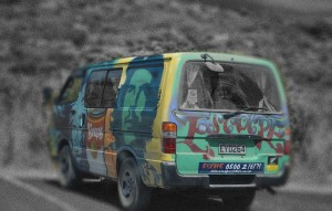 "Stylized picture of ""Escape"" rental camper van"