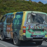 Colourfully painted rental camper van