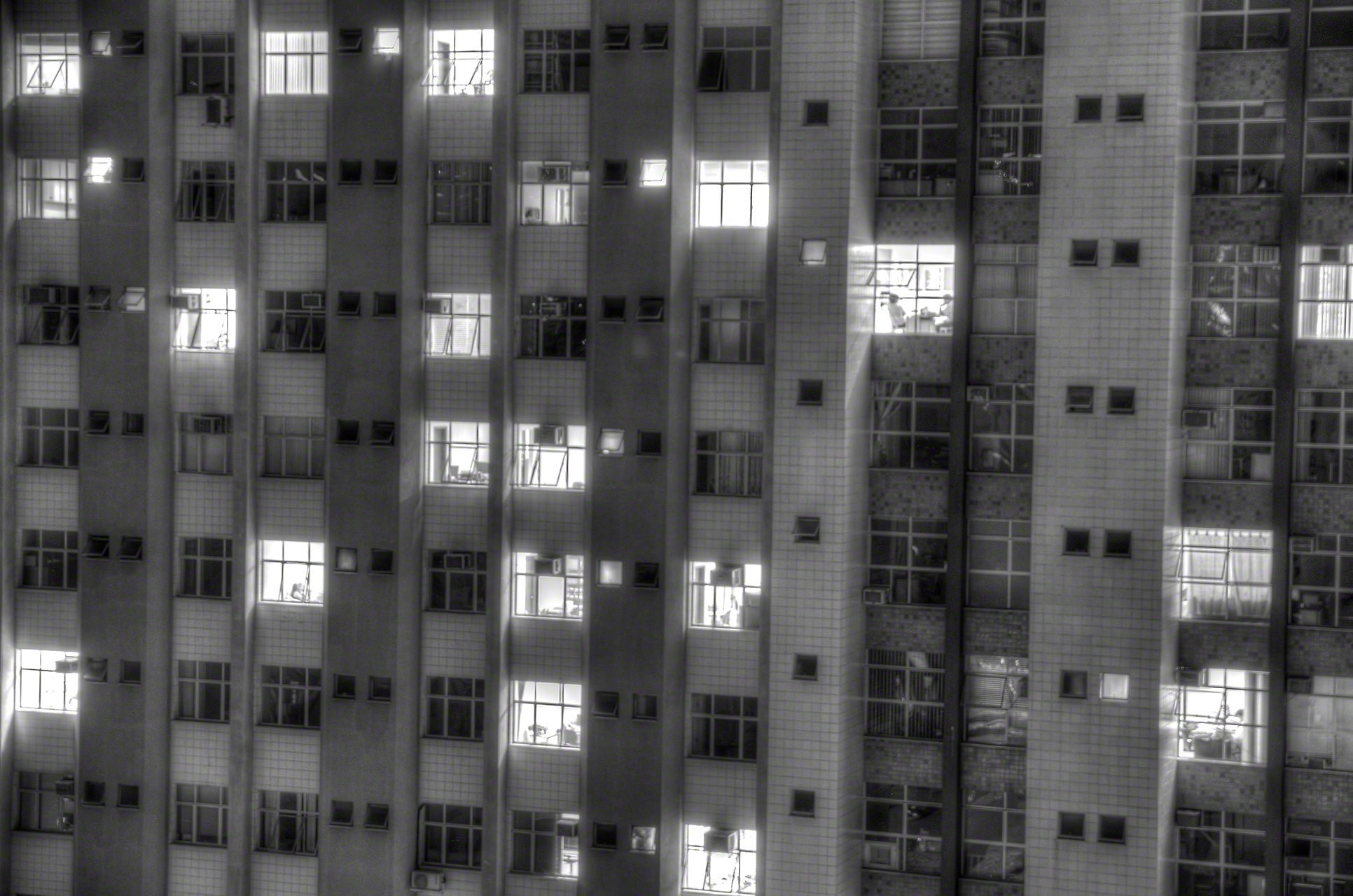 Apartment complex at night, Belo Hoizonte, Brazil