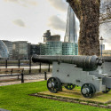 cannon across from city hall, over Thames river