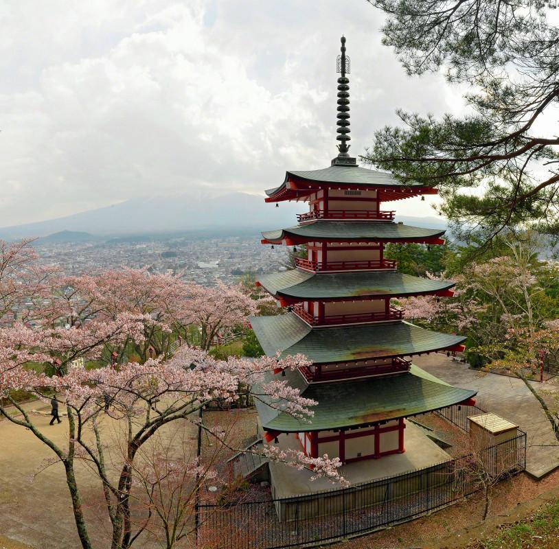 Pagoda at Shiogama Shrine, during season of Hanami, Japan