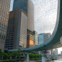 curved highway into Osaka with clouds