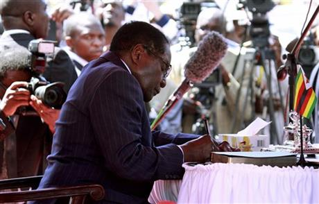 ZIMBABWE'S MUGABE, 89, SWORN IN FOR 5 MORE YEARS