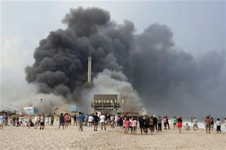 RAGING FIRE STRIKES AT HEART OF SANDY-HIT NJ TOWN