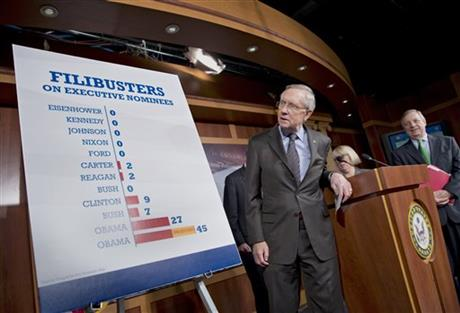 DEMOCRATS VOTE TO CURB FILIBUSTERS ON APPOINTEES