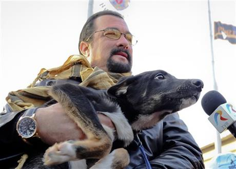 Steven Seagal 'adopts' stray dog in Romania