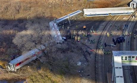 CRANES RIGHTING ANOTHER CAR OF DERAILED NYC TRAIN