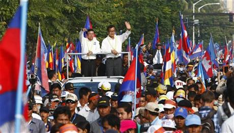 CAMBODIAN POLL PROTESTERS JOINED BY WORKERS AGAIN