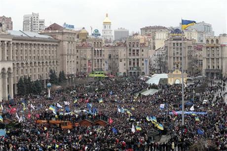 UKRAINE: TENS OF THOUSANDS MARCH THROUGH KIEV