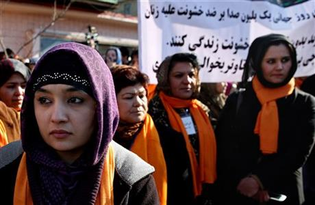 AFGHAN WOMEN RALLY AGAINST DOMESTIC VIOLENCE