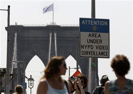POLICE PROBING BROOKLYN BRIDGE FLAG SWITCH