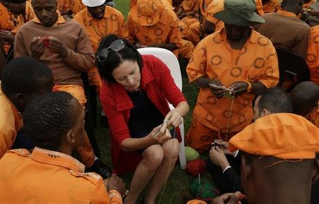 South African inmates crochet blankets for Mandela