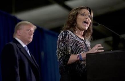 Trump campaigns with Sarah Palin endorsement, but no Palin