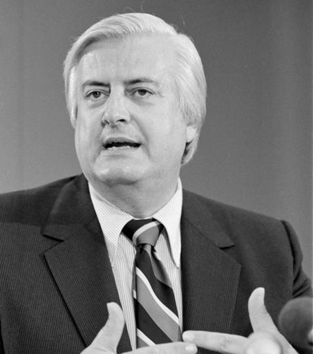 FILE - In this June 30, 1980, file photo, Rep. Henry Hyde, R-Ill., speaks to reporters in Washington, about the Supreme Court's decision that the federal government and individual states do not have to pay for abortions wanted by women on welfare. Hyde was one of the sponsors of a bill in Congress limiting spending of tax money to pay for abortions. The Hyde Amendment is now in the spotlight some 40 years after it was passed by Congress, emerging as an election issue in the national debate over abortion. First approved in 1976, and renewed annually ever since as part of the appropriations process, the amendment bans federal funding for Medicaid coverage of abortions, except in cases of rape or incest, or when a pregnancy endangers a women's life. (AP Photo/Charles Harrity, File)