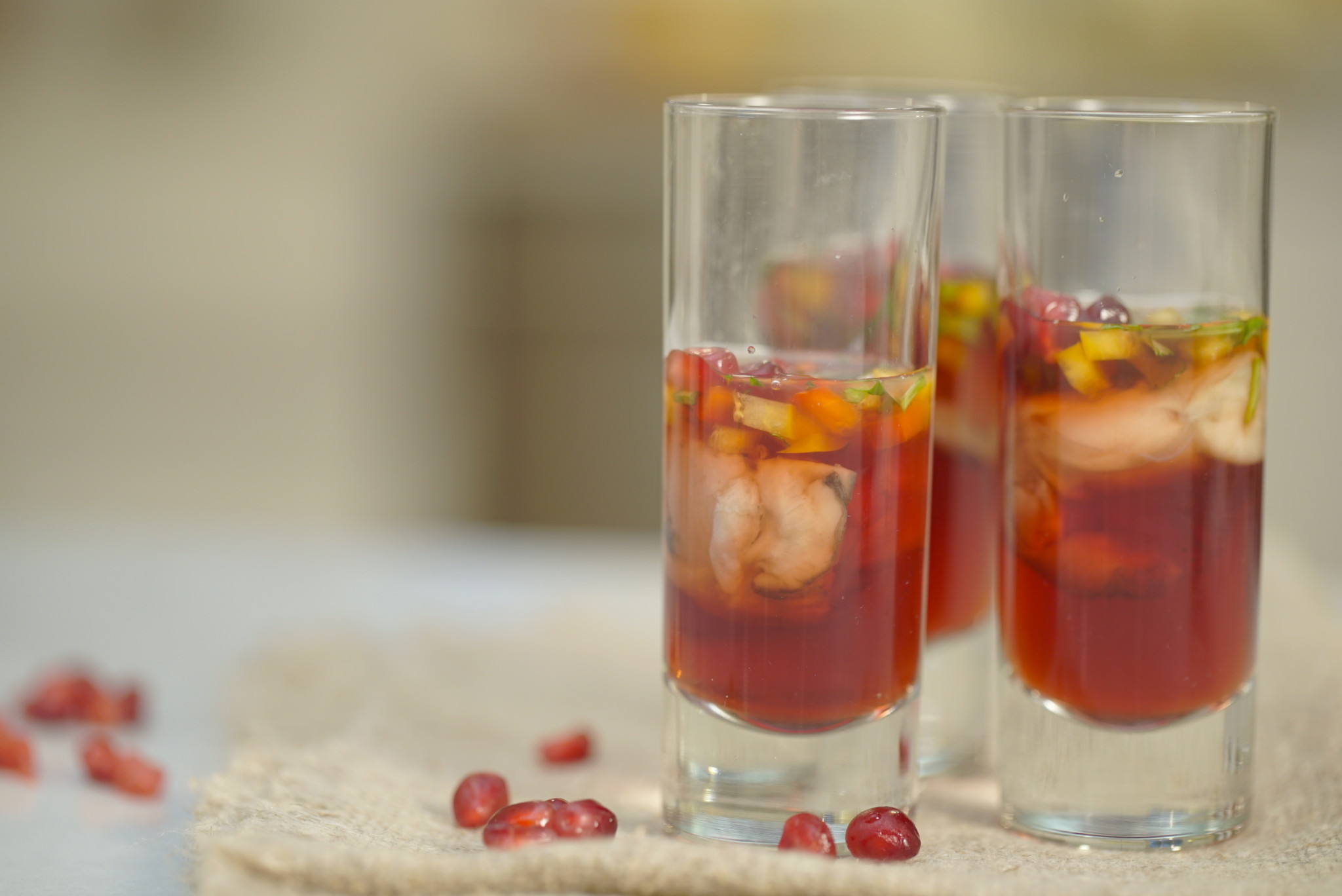 pomegranate oyster shooters