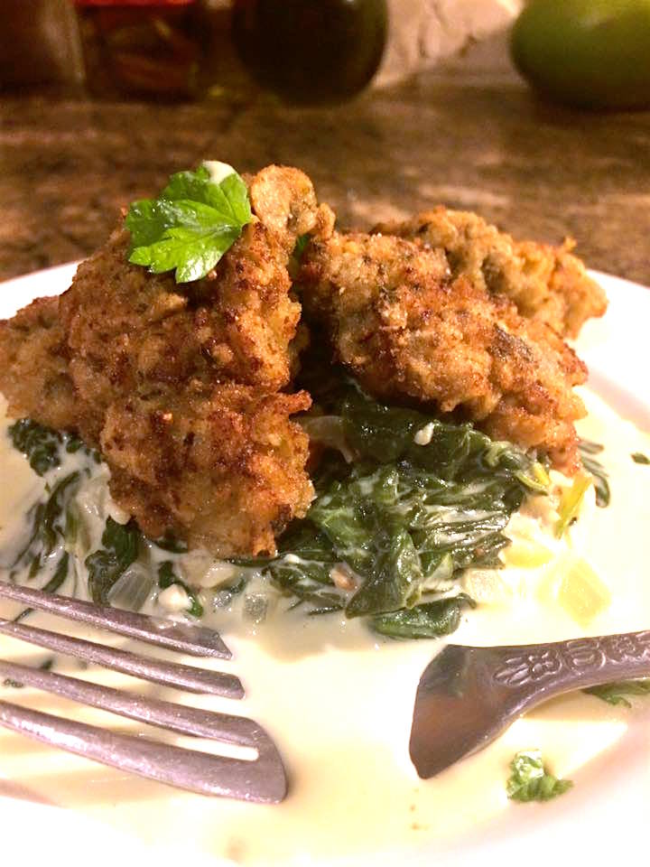 Fried Oysters with Creamed Spinach