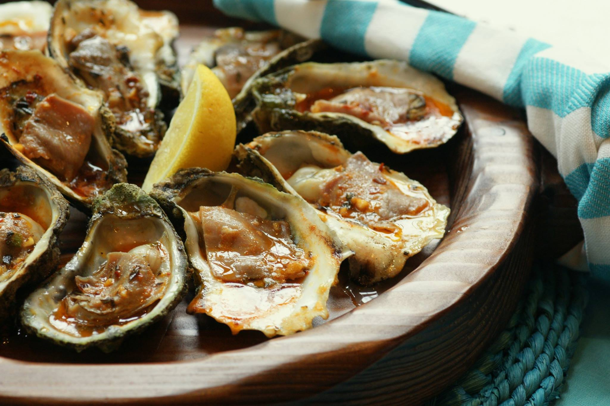 Char-Grilled Oysters with Aged Country Ham