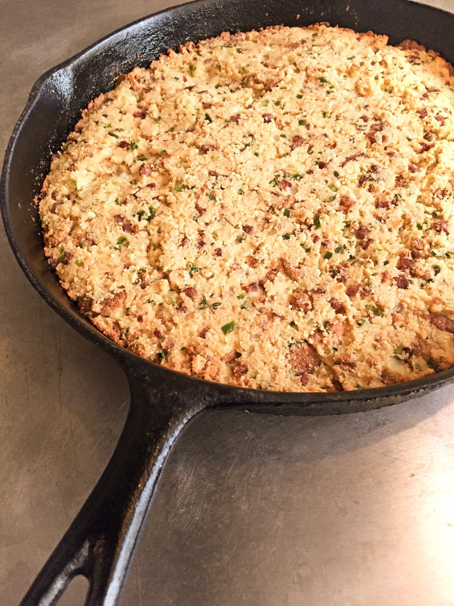 A skillet of Jim Smith's Oyster and Sausage Dressing.