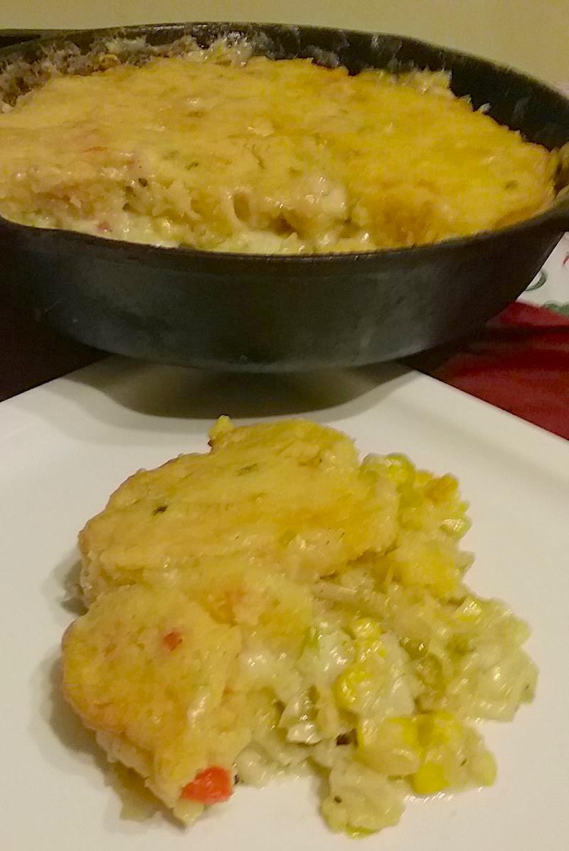oyster pot pie with southwest cornbread crust