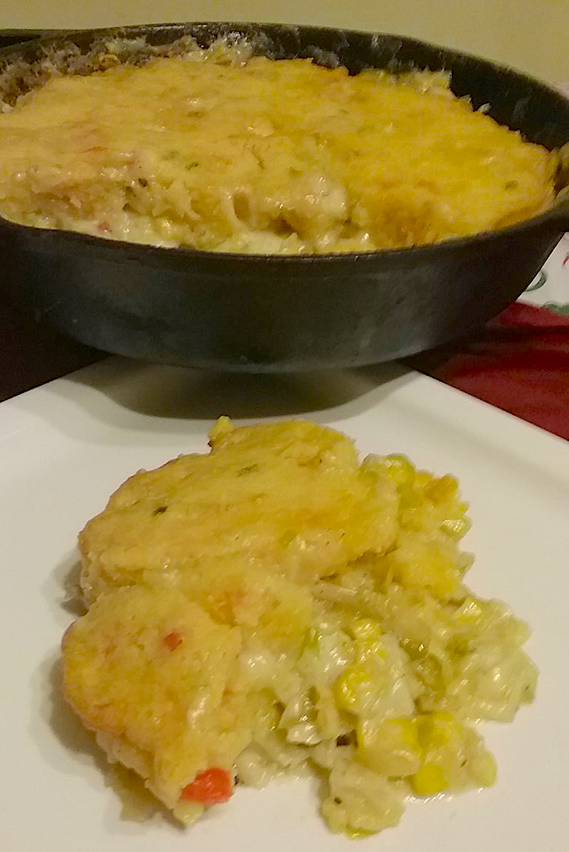 oyster pot pie with southwest cornbread crust