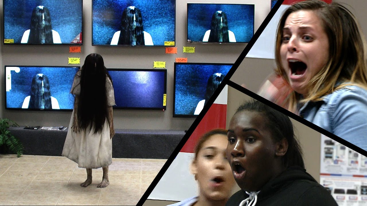 """The Girl from """"The Ring"""" Climbs Out of a TV at an Electronics Store"""