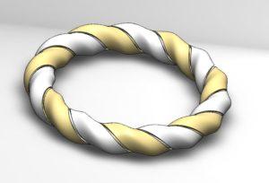 gold-and-silver-bracelet 3D CAD