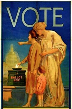 Two women stand at a ballot box. The word vote is at the top of the image.