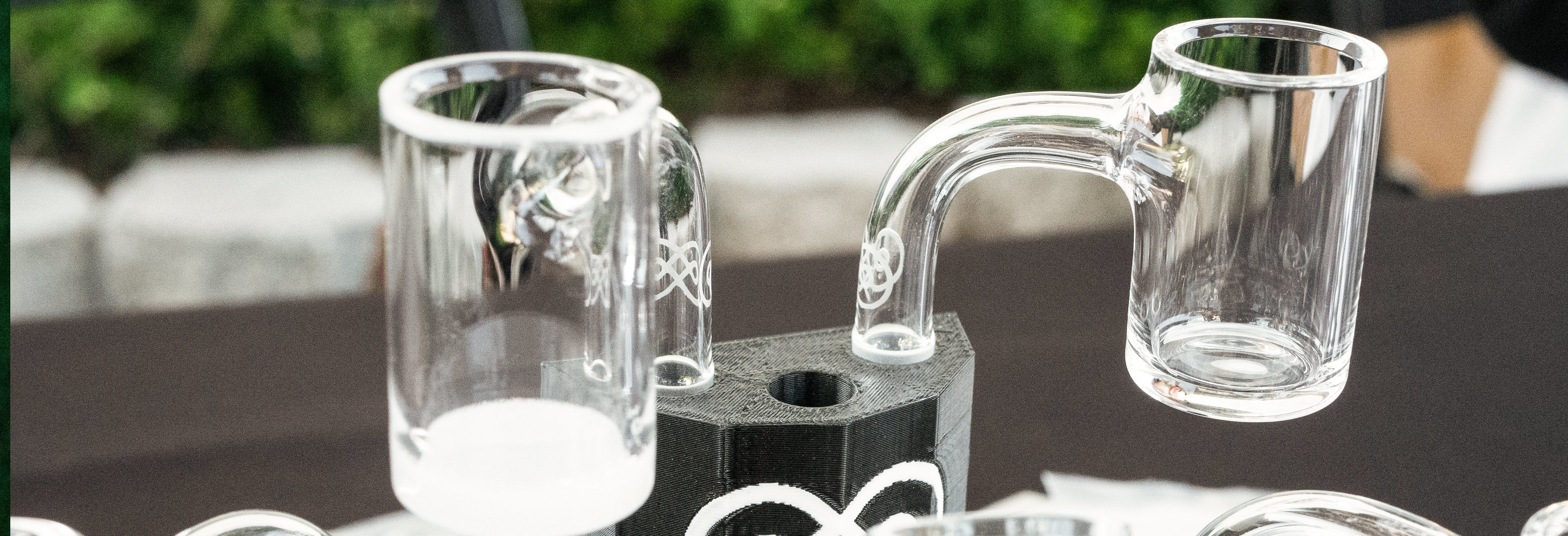Two clear glass pieces by eternal quartz glass