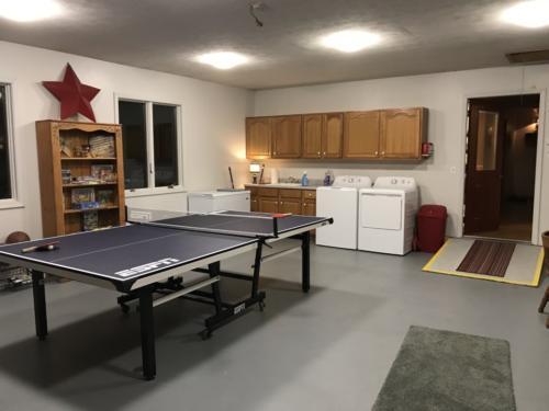 View of new laundry area and Razorback gameroom