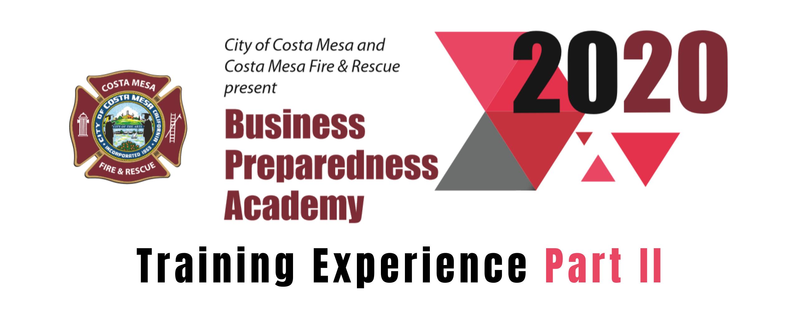City of Costa Mesa and Costa Mesa Fire & Rescue Business Preparedness Academy