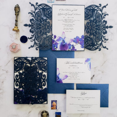 navy blue lasercut wedding invitations