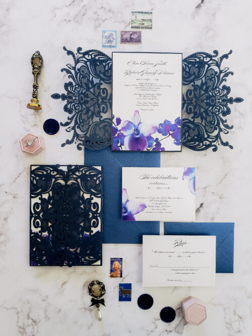 navy blue lasercut wedding invitations
