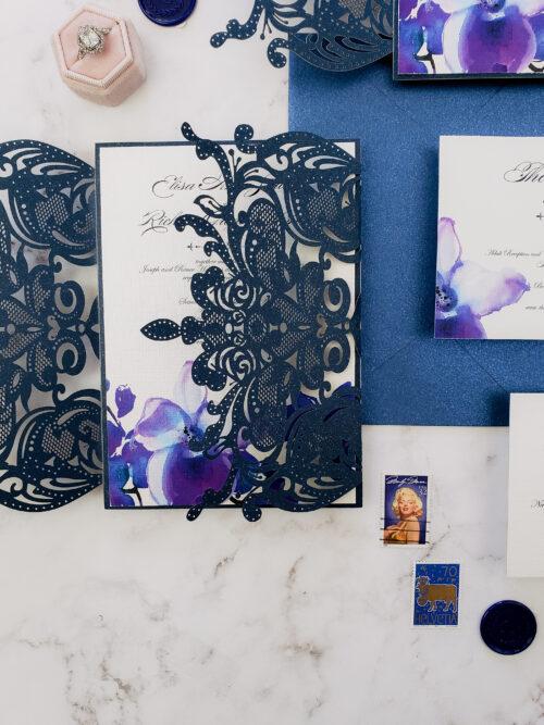 orchid wedding invitation laser cut