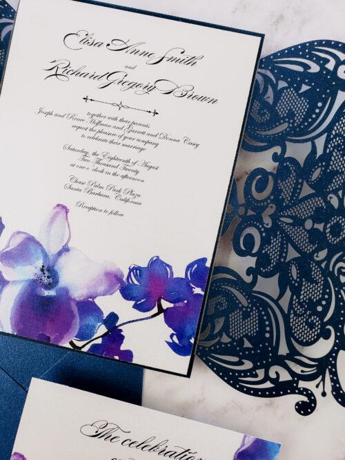 orchid laser cut wedding invitation