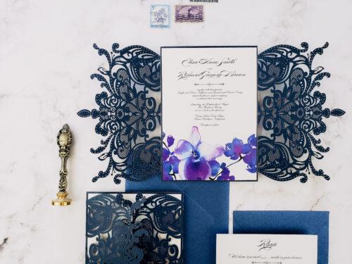navy lasercut wedding invitations