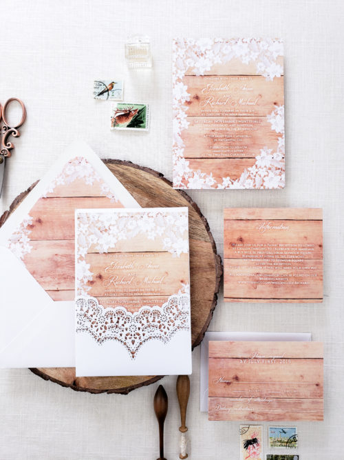 wood laser cut wedding invitation