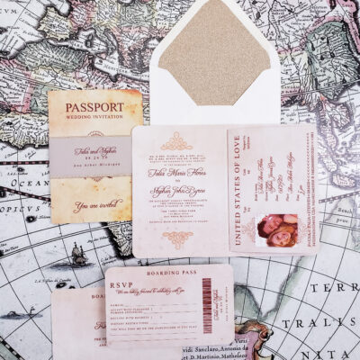 vintage passport wedding invitations