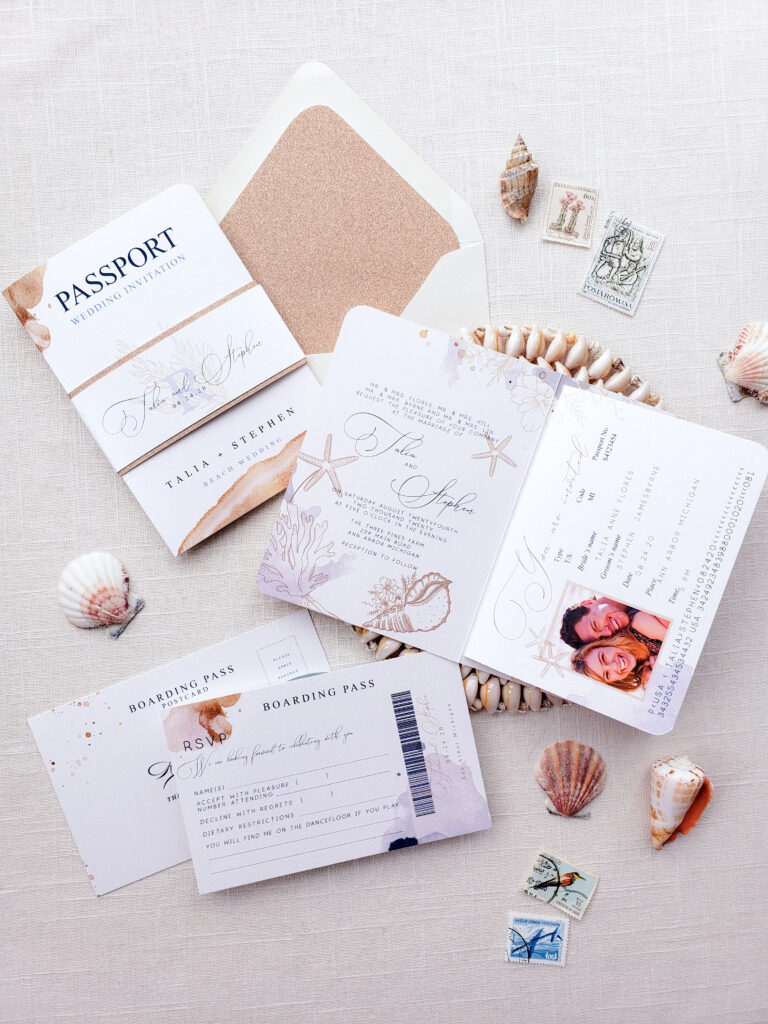 Tropical Passport Wedding Invitations With Seashells Seychelles