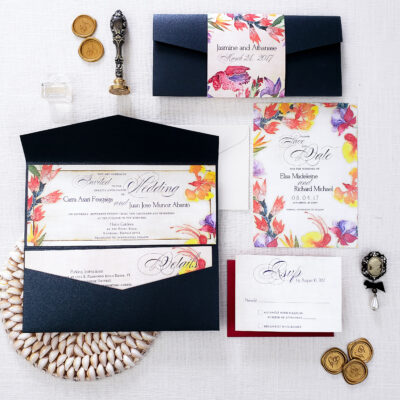 elegant tropical wedding invitation