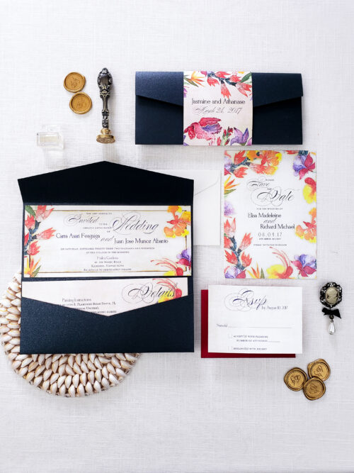 elegant tropical wedding invitation